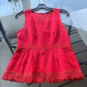 Nanette Lepore Red Lace Peplum Top, Size 4